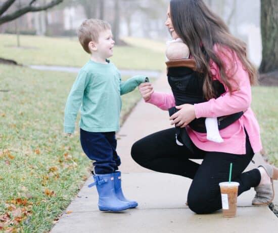 Mom taling to toddler boy