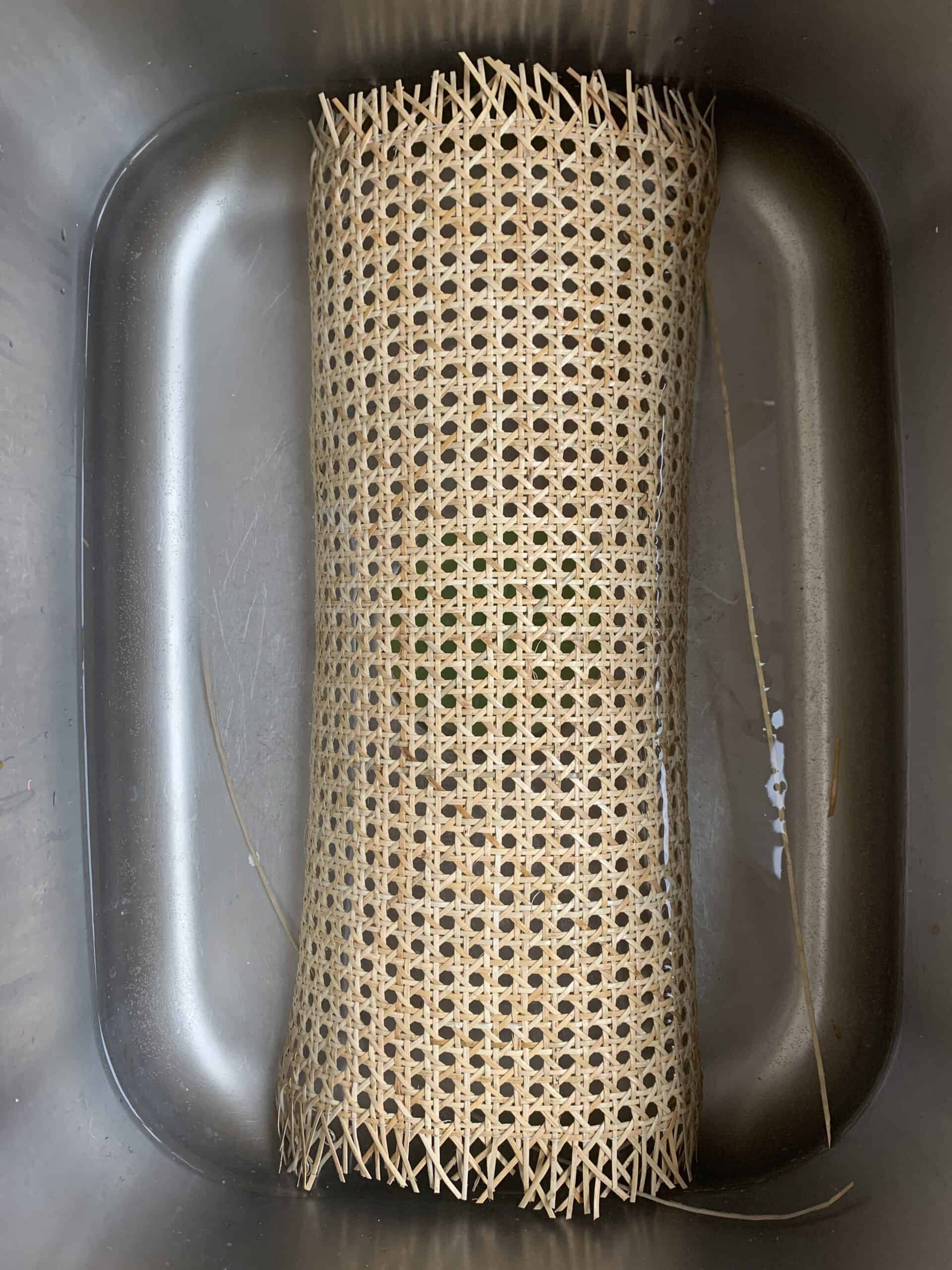 piece of cane mesh soaking