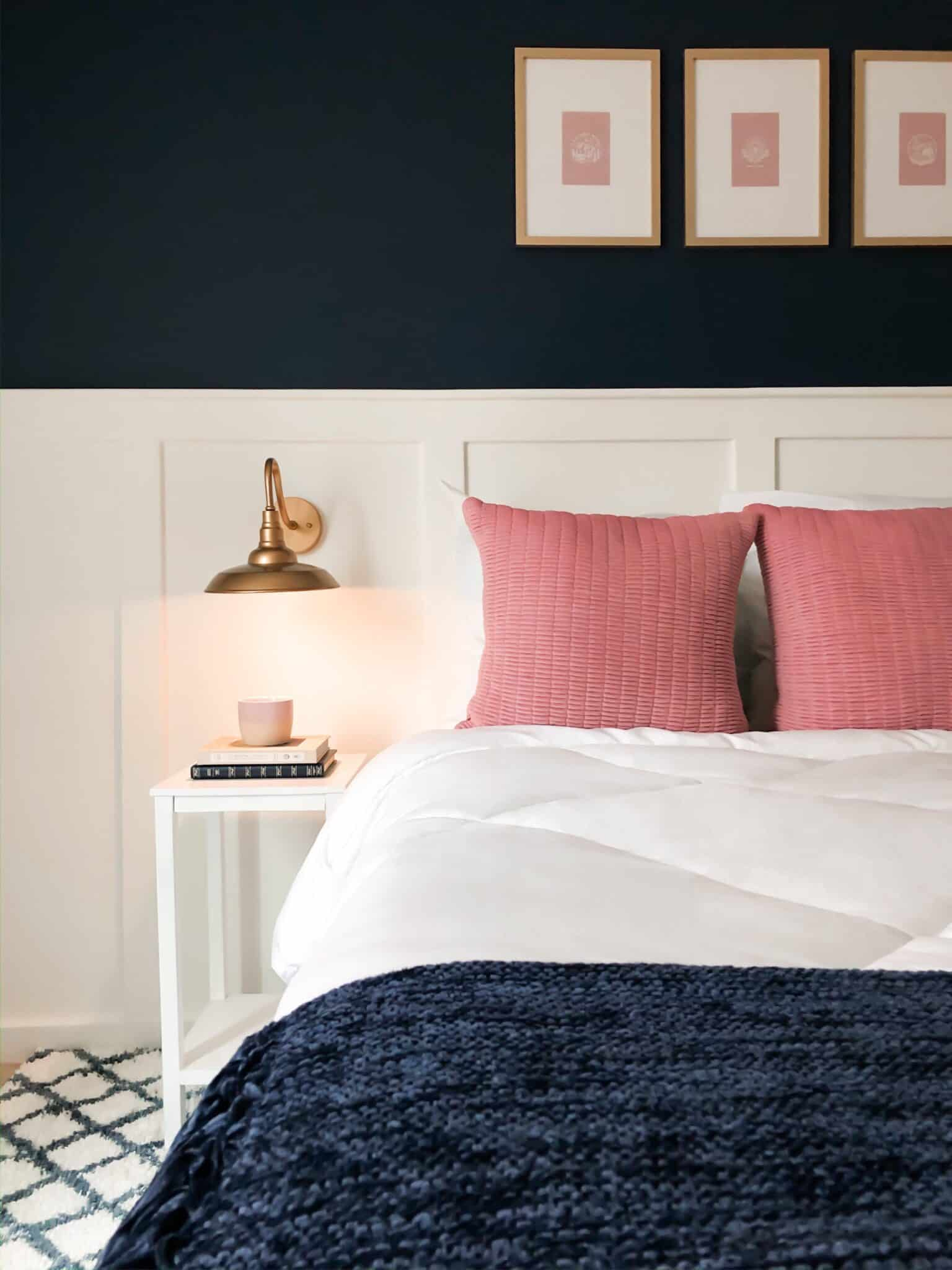 master bedroom with navy blue and pink