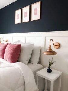 Master bedroom with navy blue walls