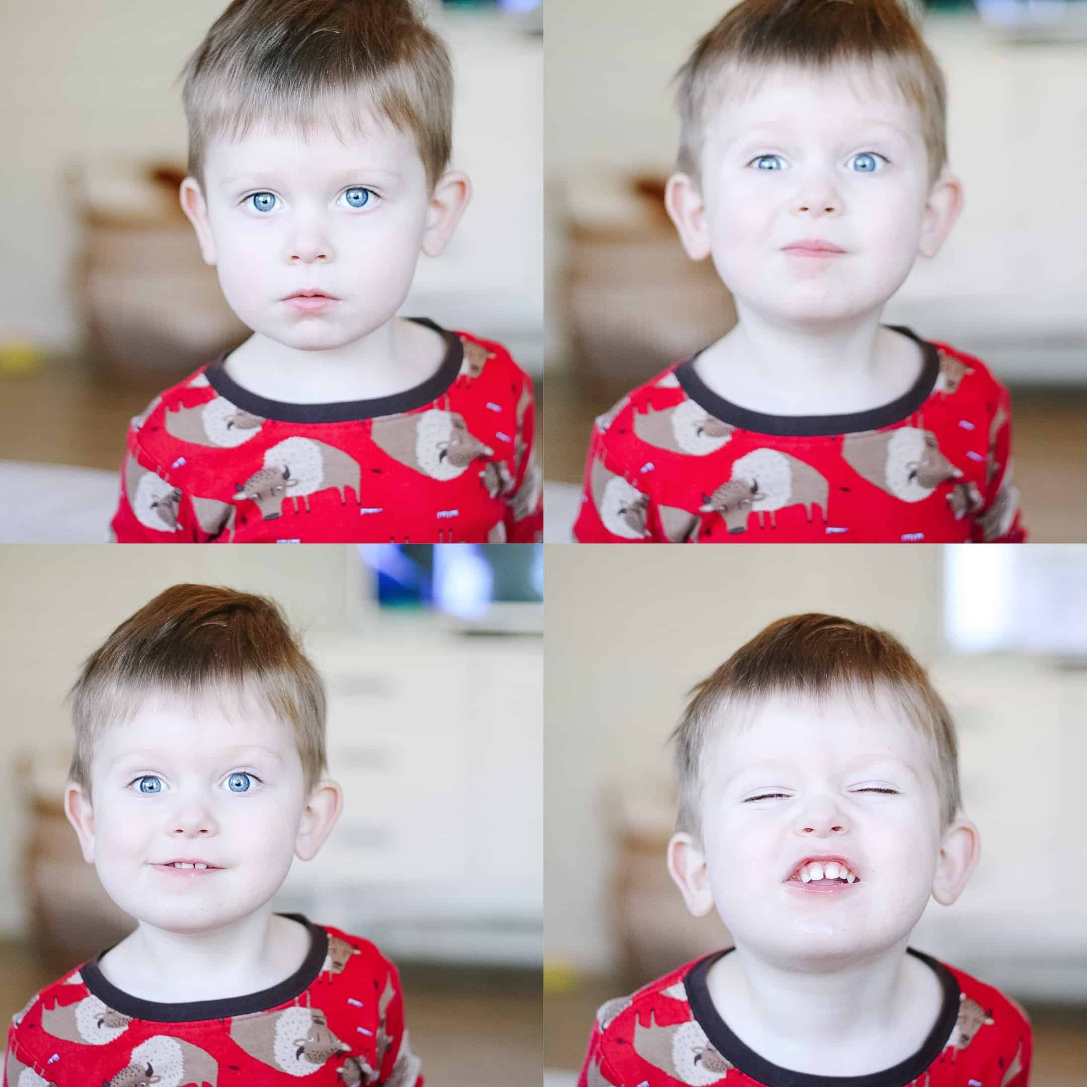 toddler boy grid photo with emotions