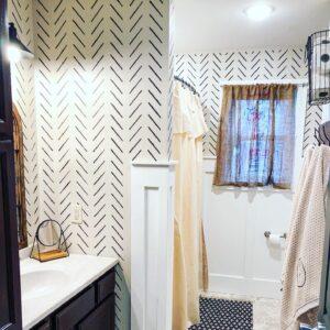 stenciled bathroom