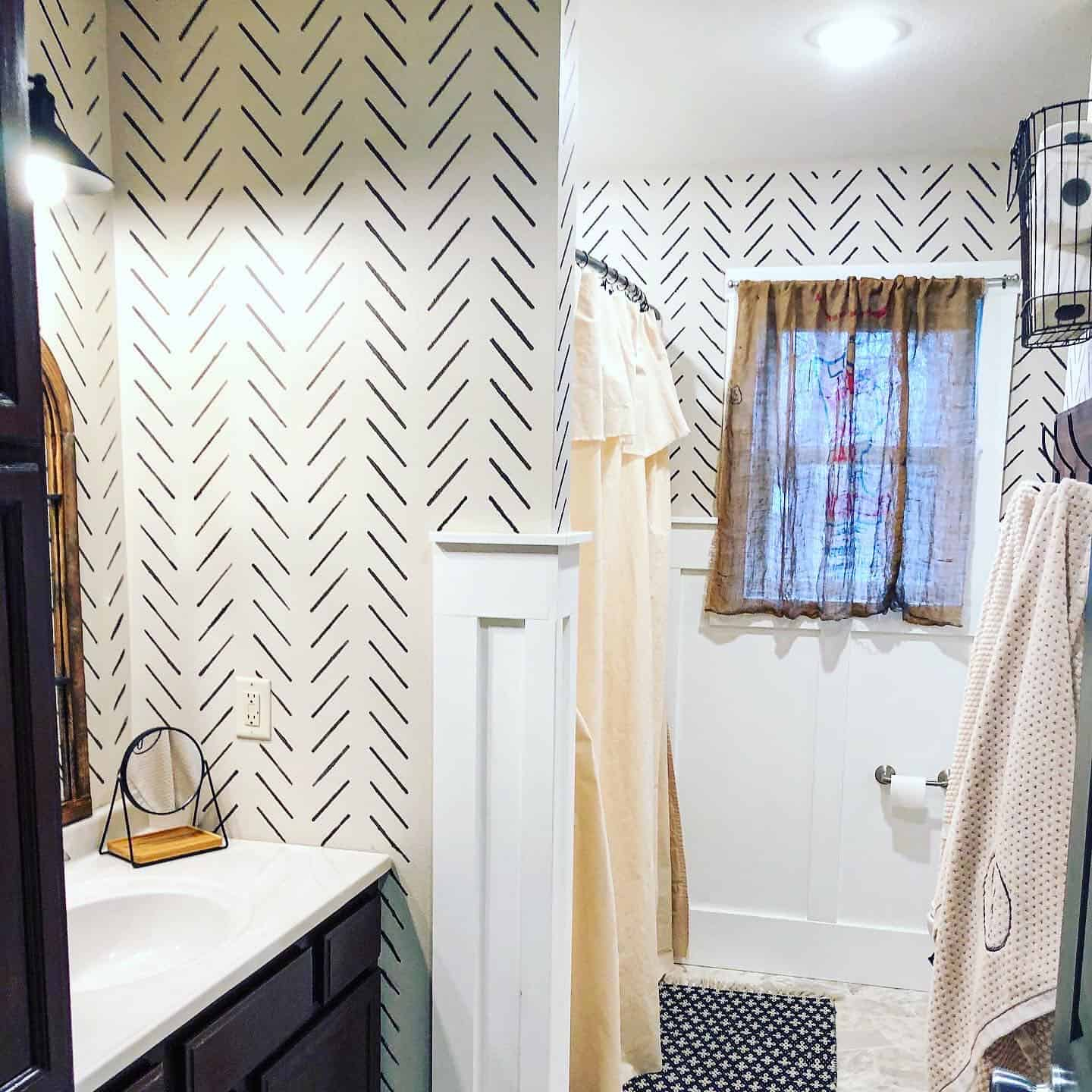 stenciled bathroom