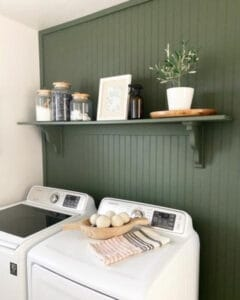 green wall in laundry room
