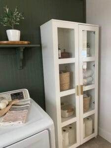 IKEA cabinet in laundry room