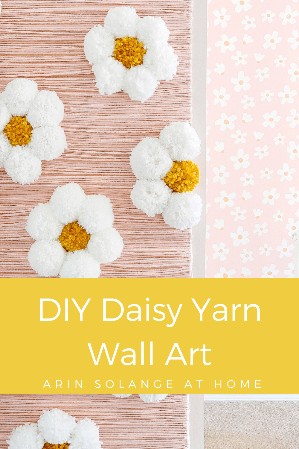 DIY yarn wall art of Daisies