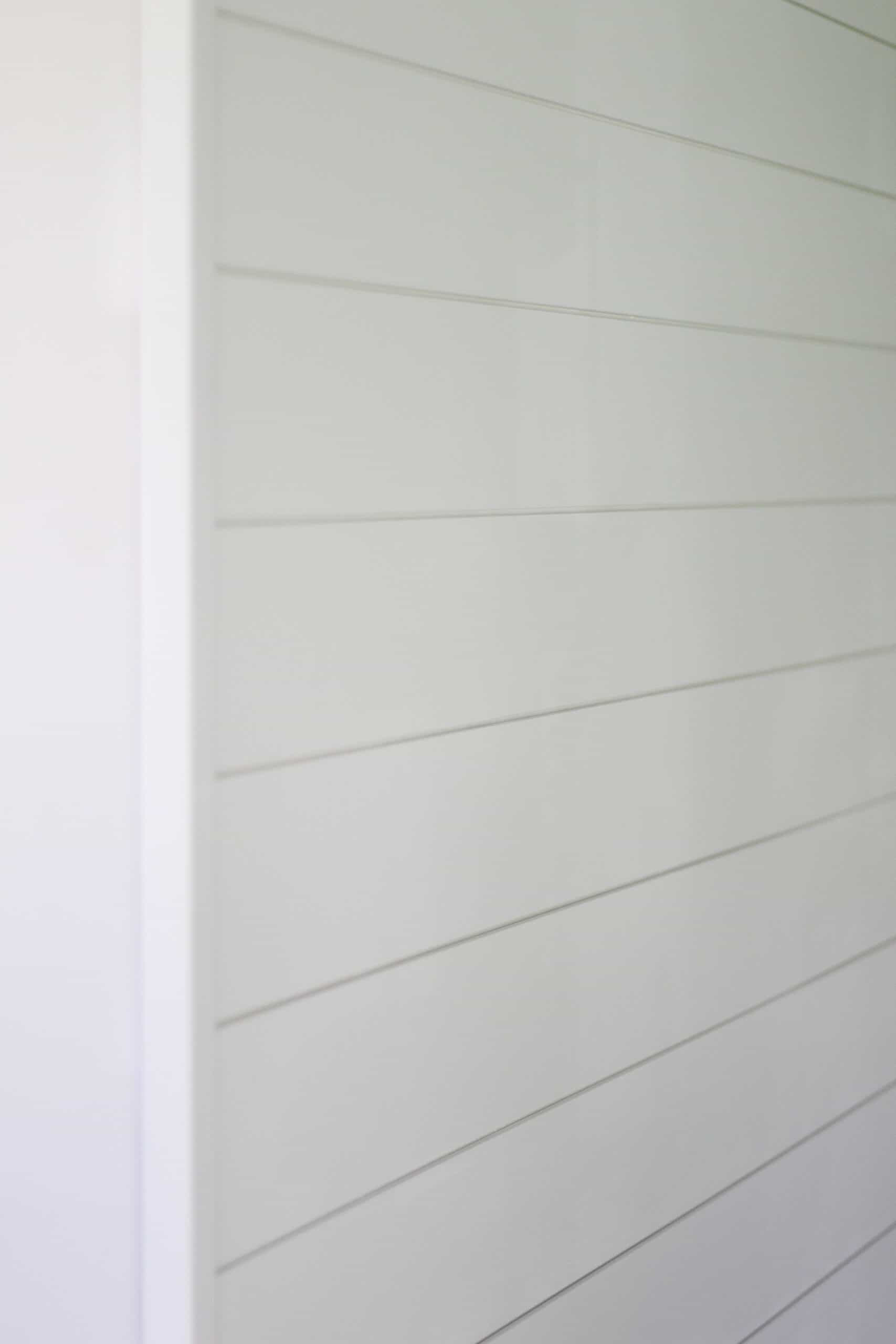 shiplap wall with corner covered