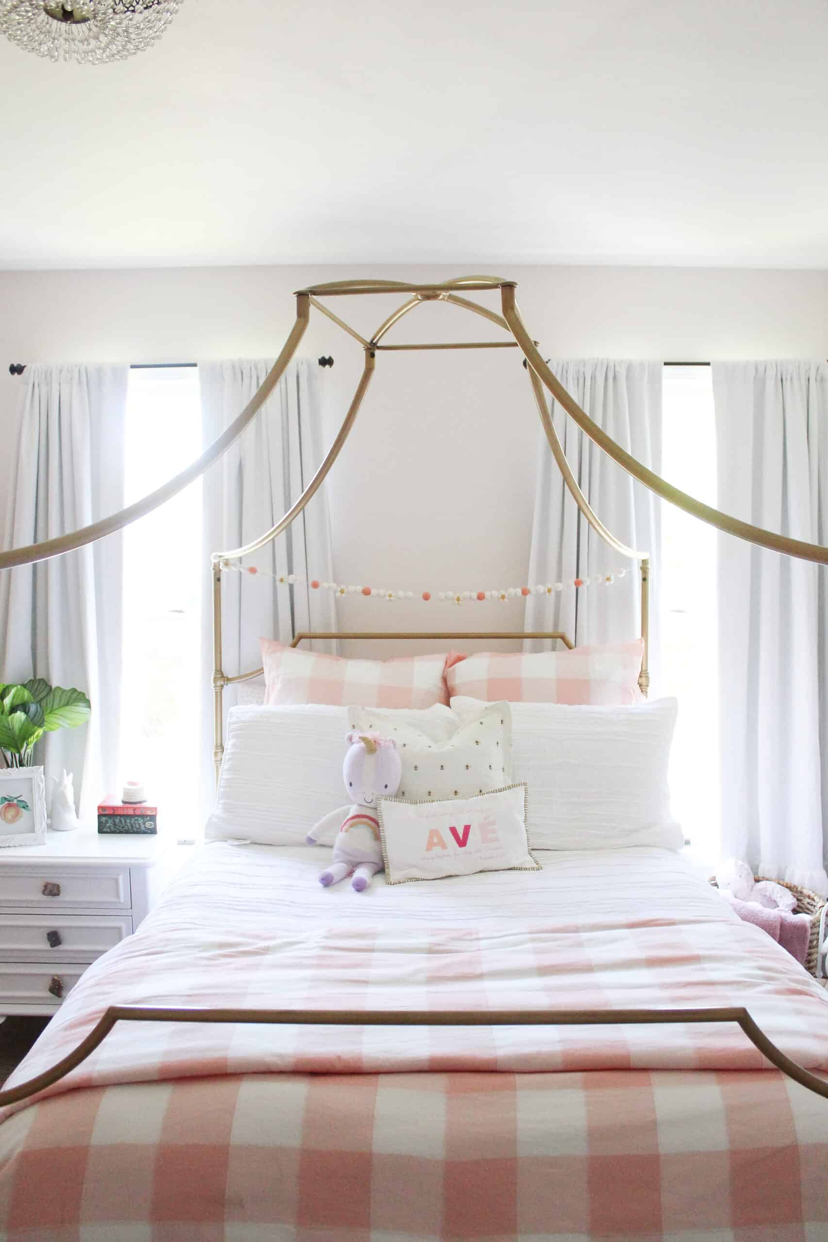 pink gingham kids bedding
