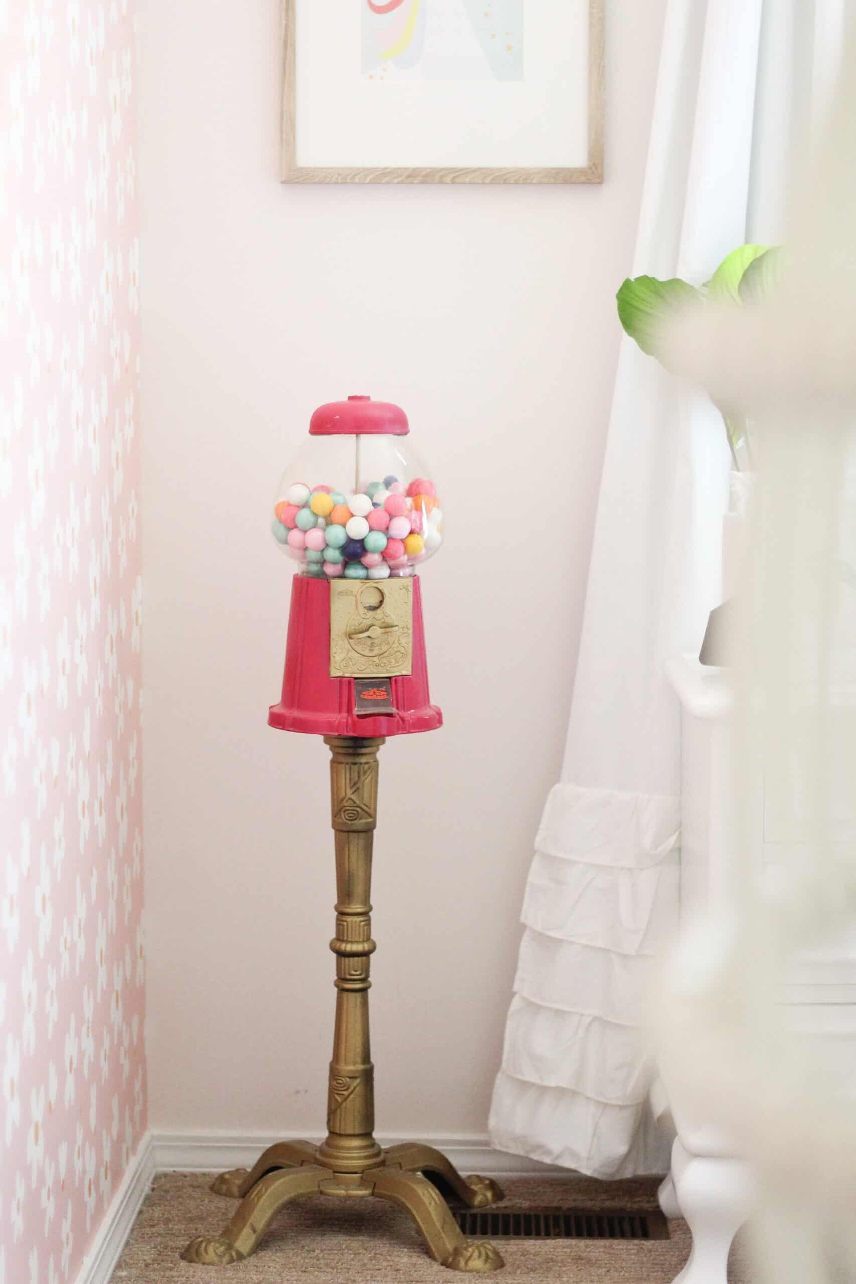 Pink gumball machine in little girls room