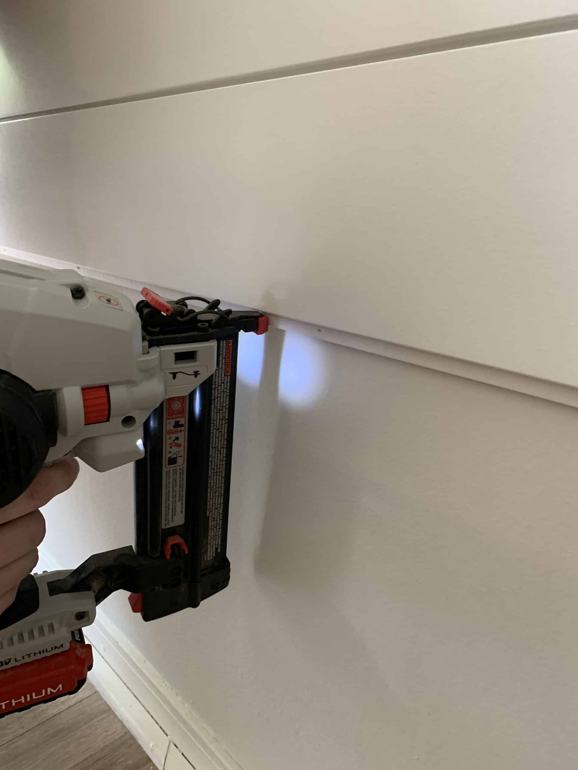 how to install shiplap with a nail gun