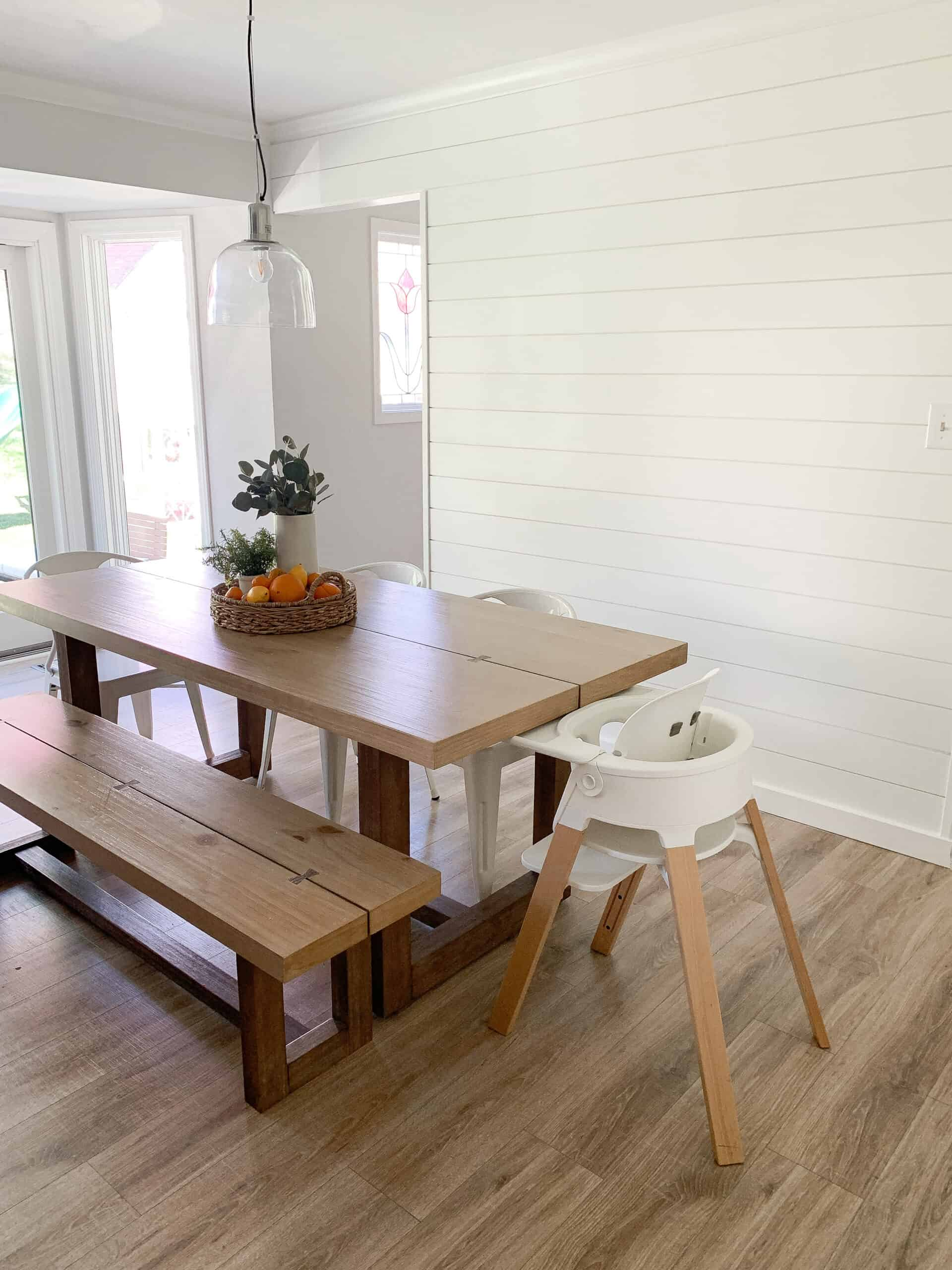 Kitchen with DIY shiplap wall