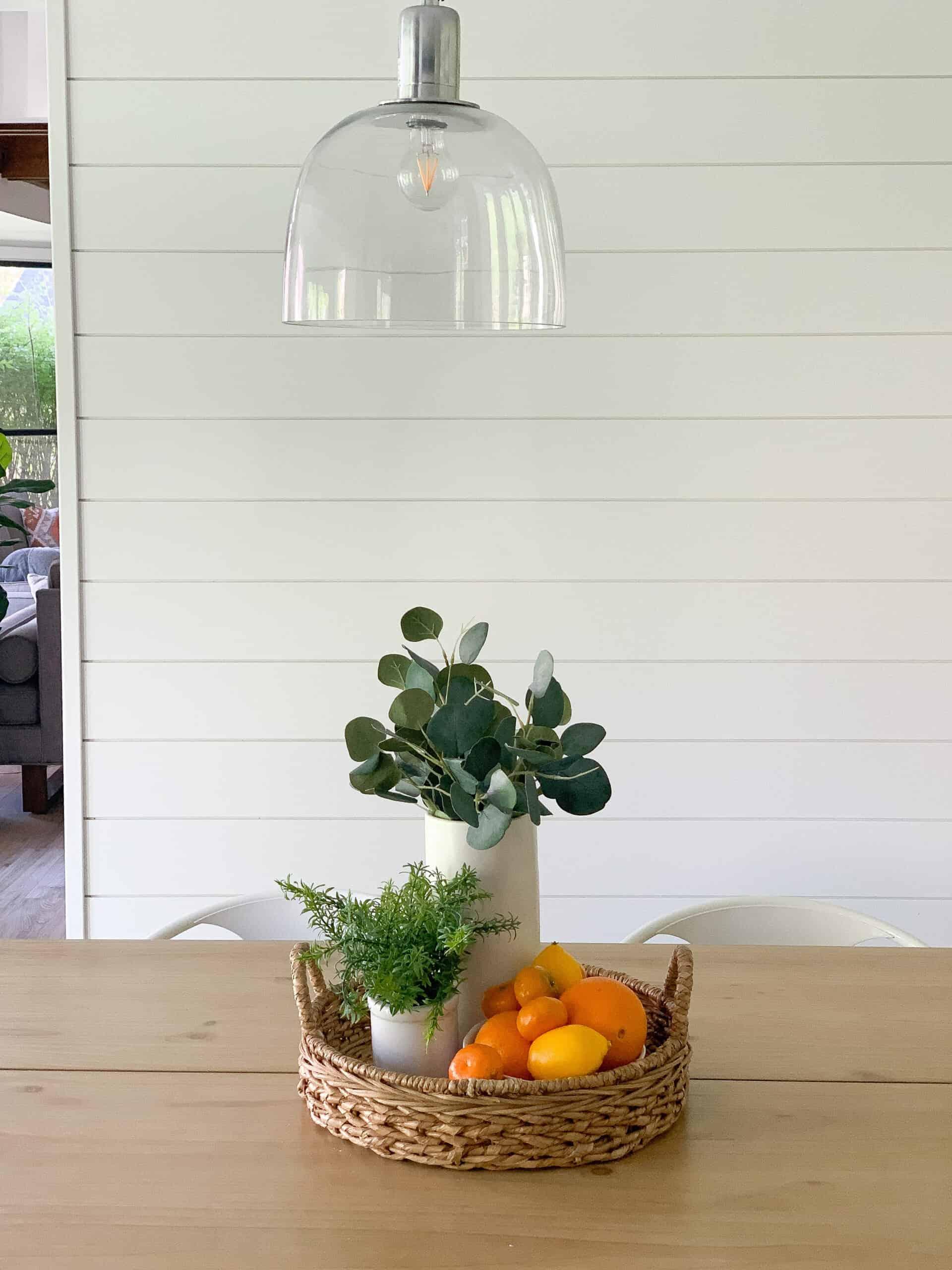 DIY shiplap wall in kitchen