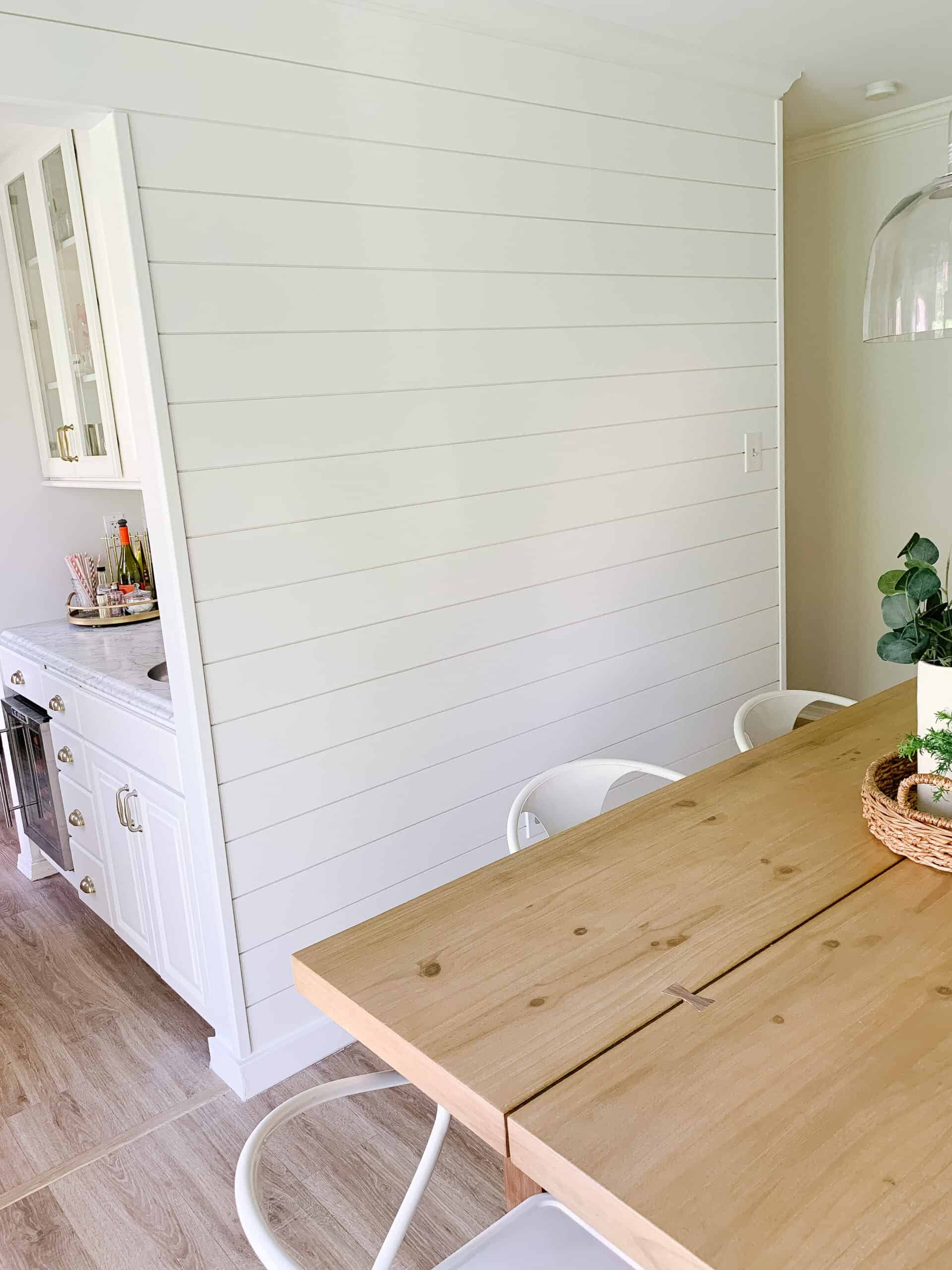 Shiplap on wall in kitchen