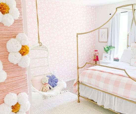 little girls room with daisy wallpaper