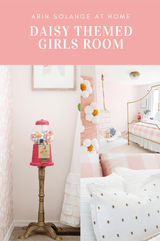 Daisy wallpaper in little girls room