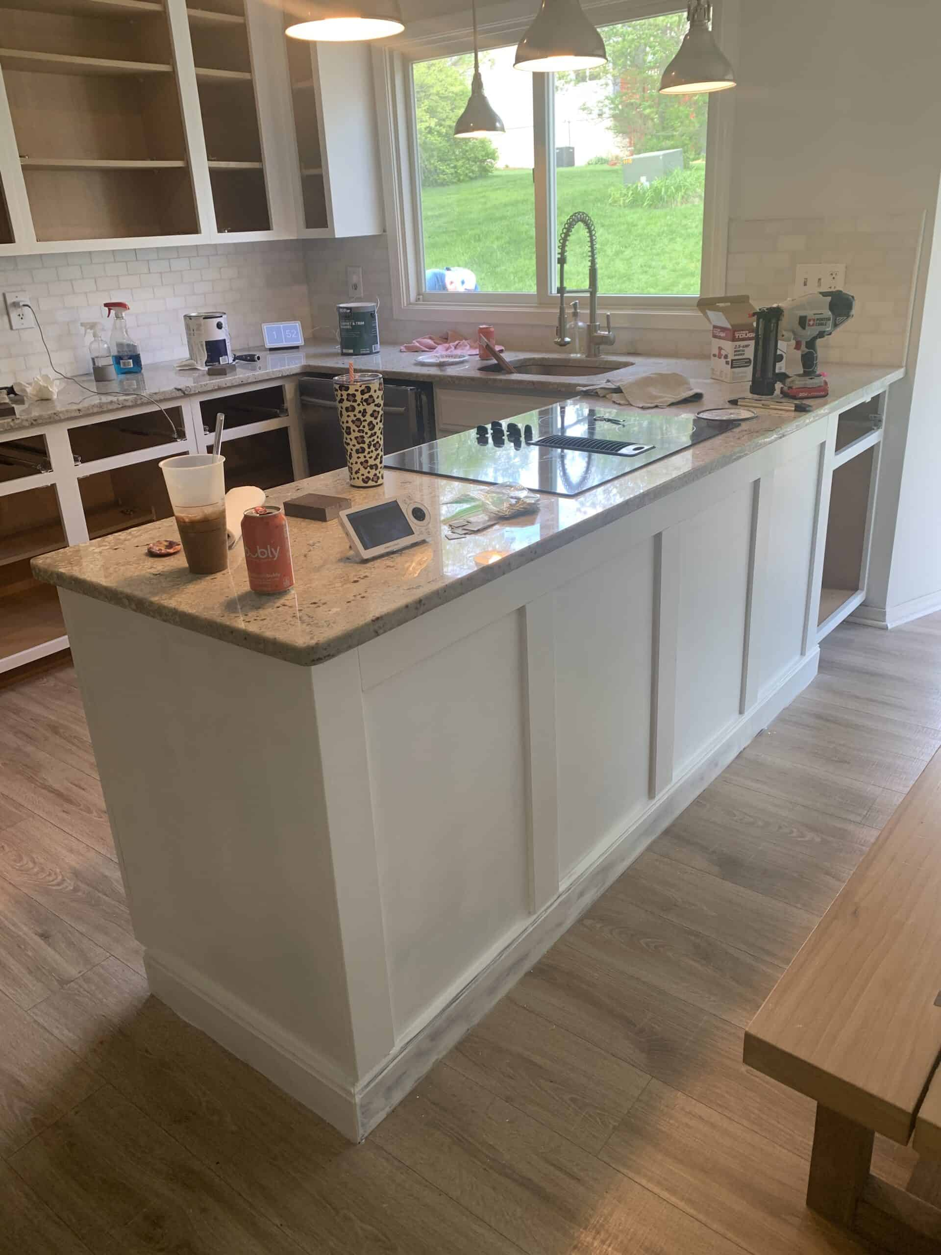 kitchen island with added moulding