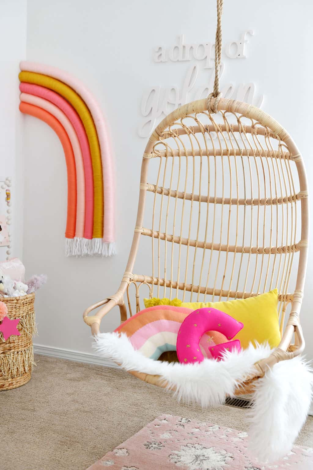 serena and Lilly hanging chair by rainbow