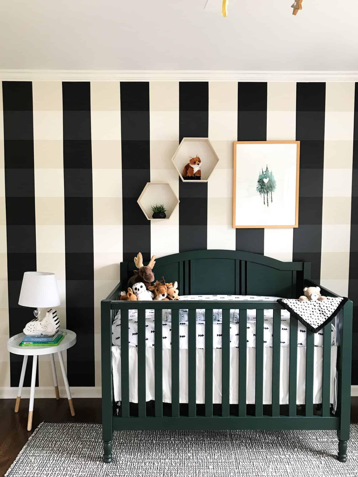 buffalo check wallpaper in nursery