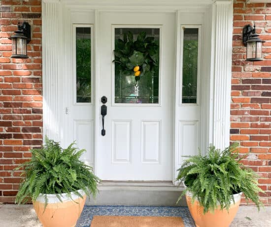 DIY terracotta pots on porch