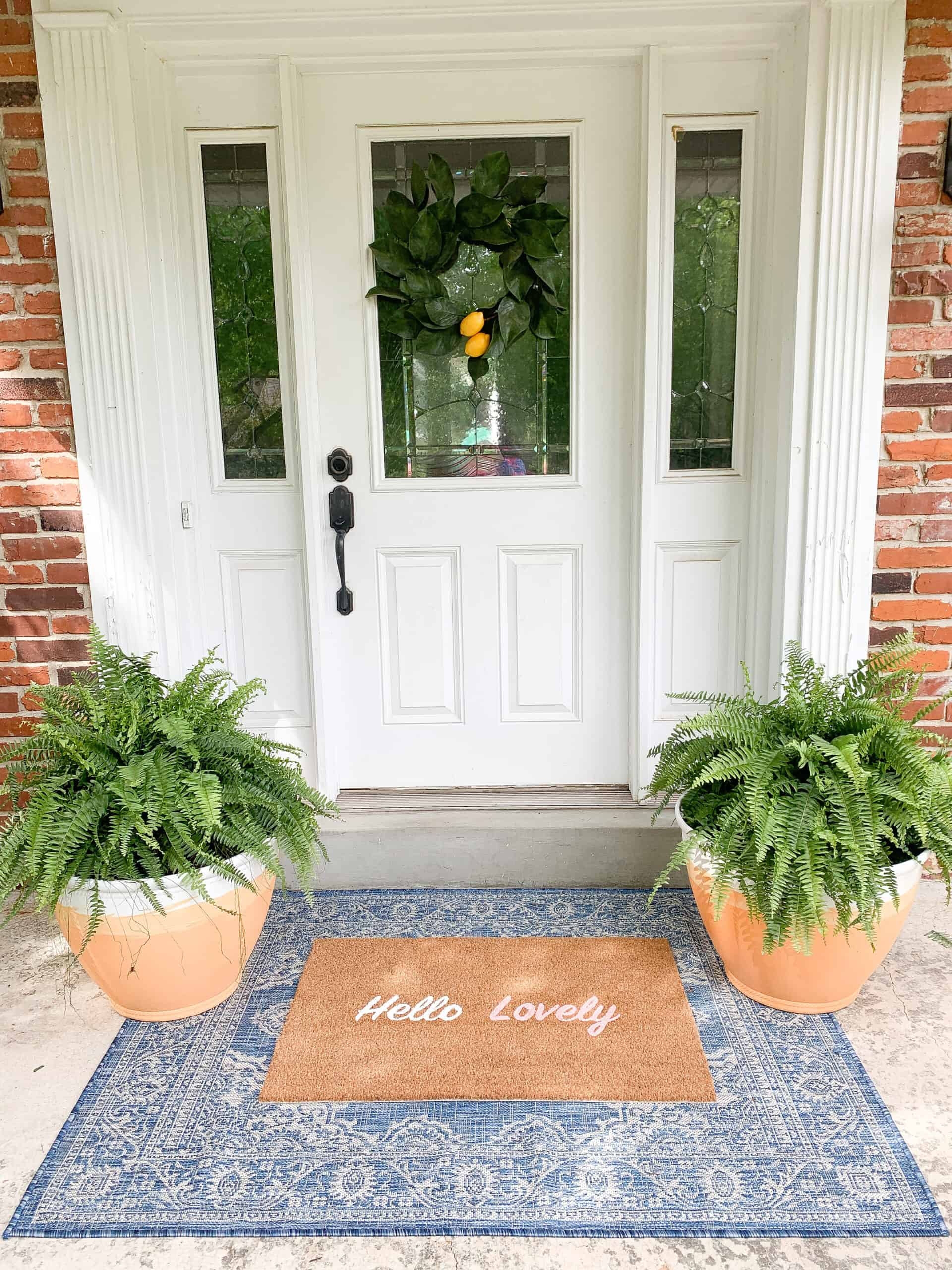 front porch with DIY Terracotta pots