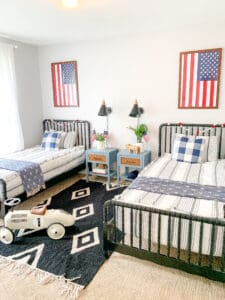 patriotic boys room with red white and blue
