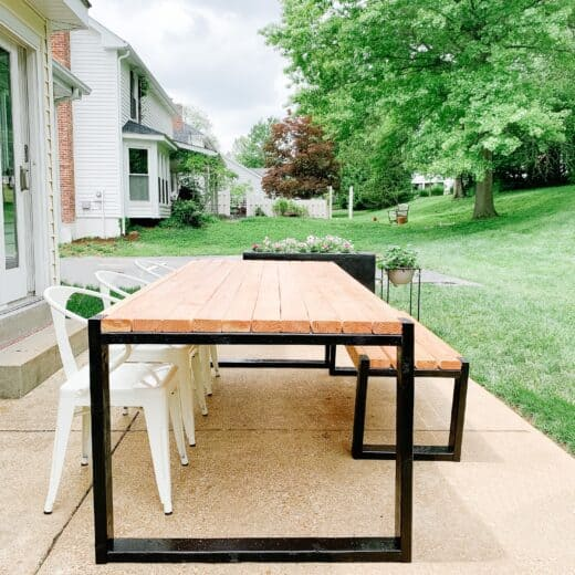 Modern black and wood DIy outdoor table