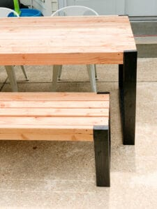 DIY outdoor table and bench