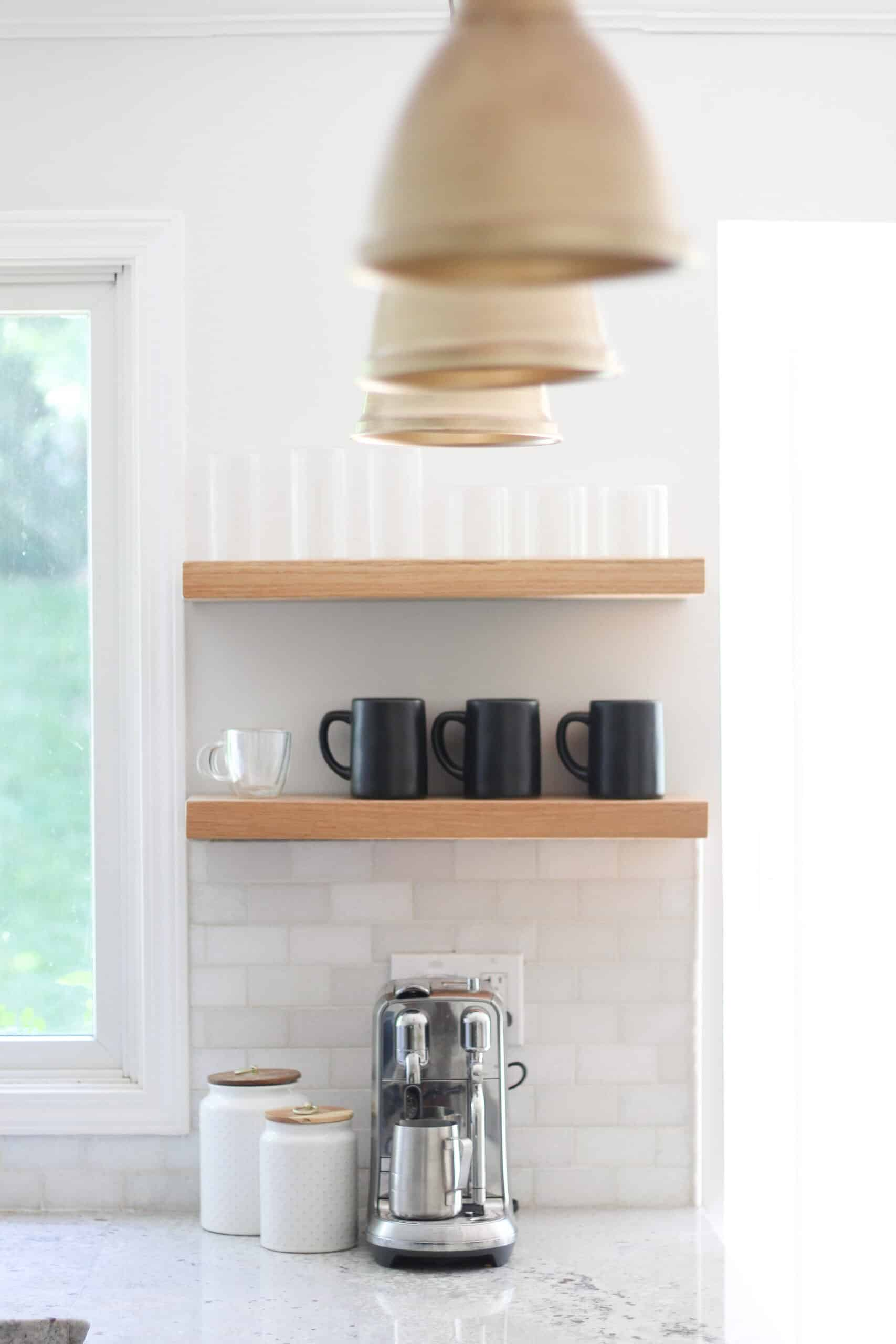 floating shelf brackets and solid wood shelves