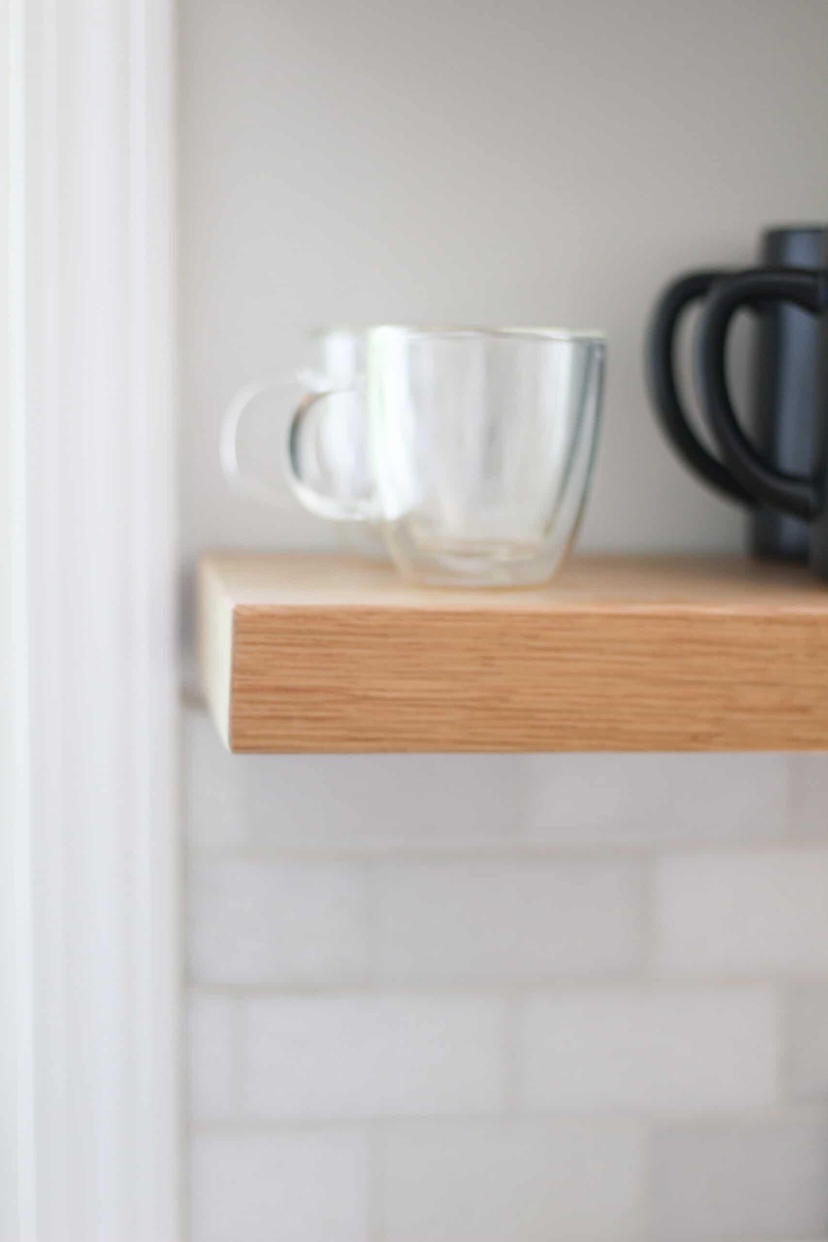 floating shelf in kitchen