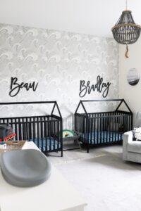 modern nursery with wallpaper