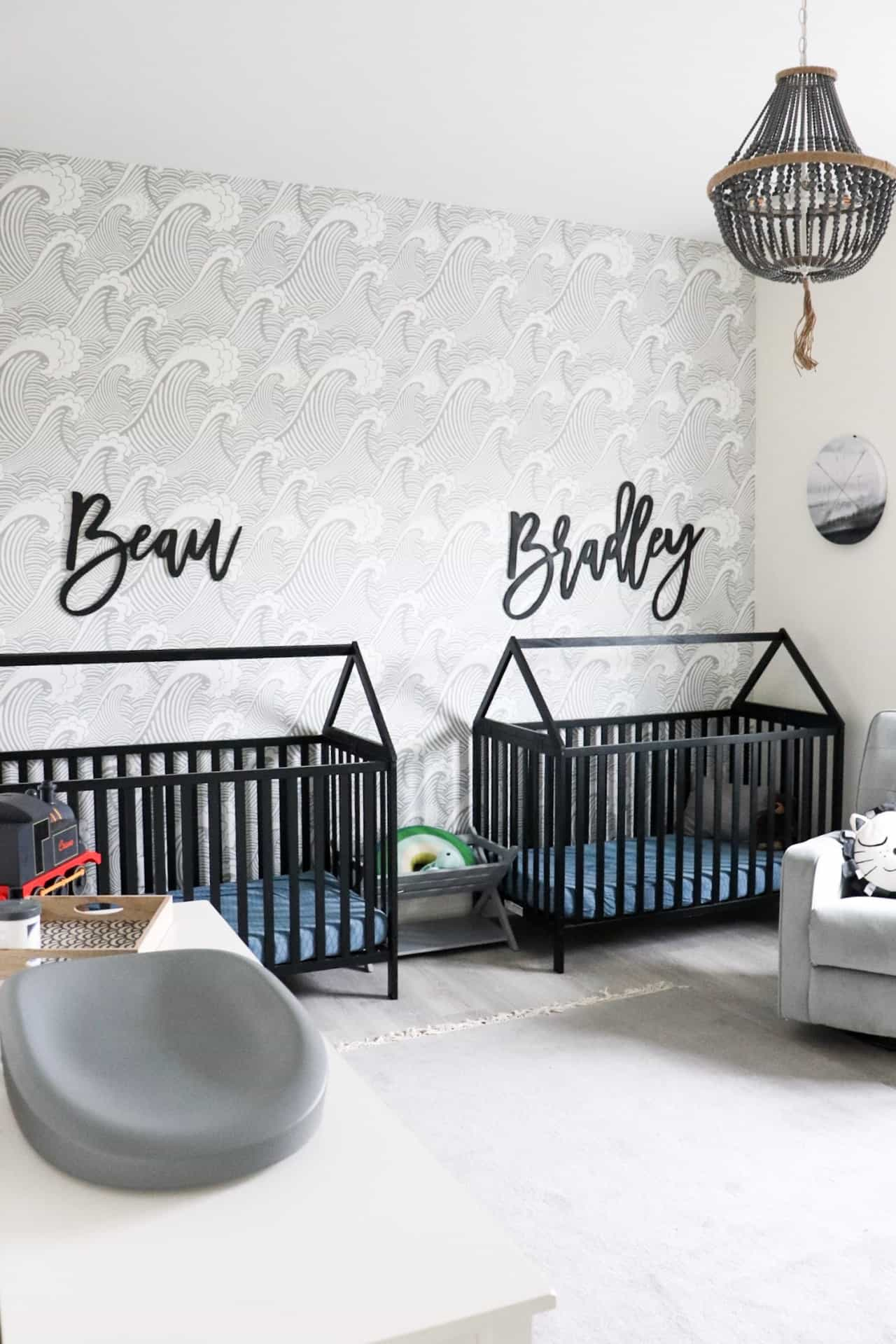 modern nursery with wallpaper