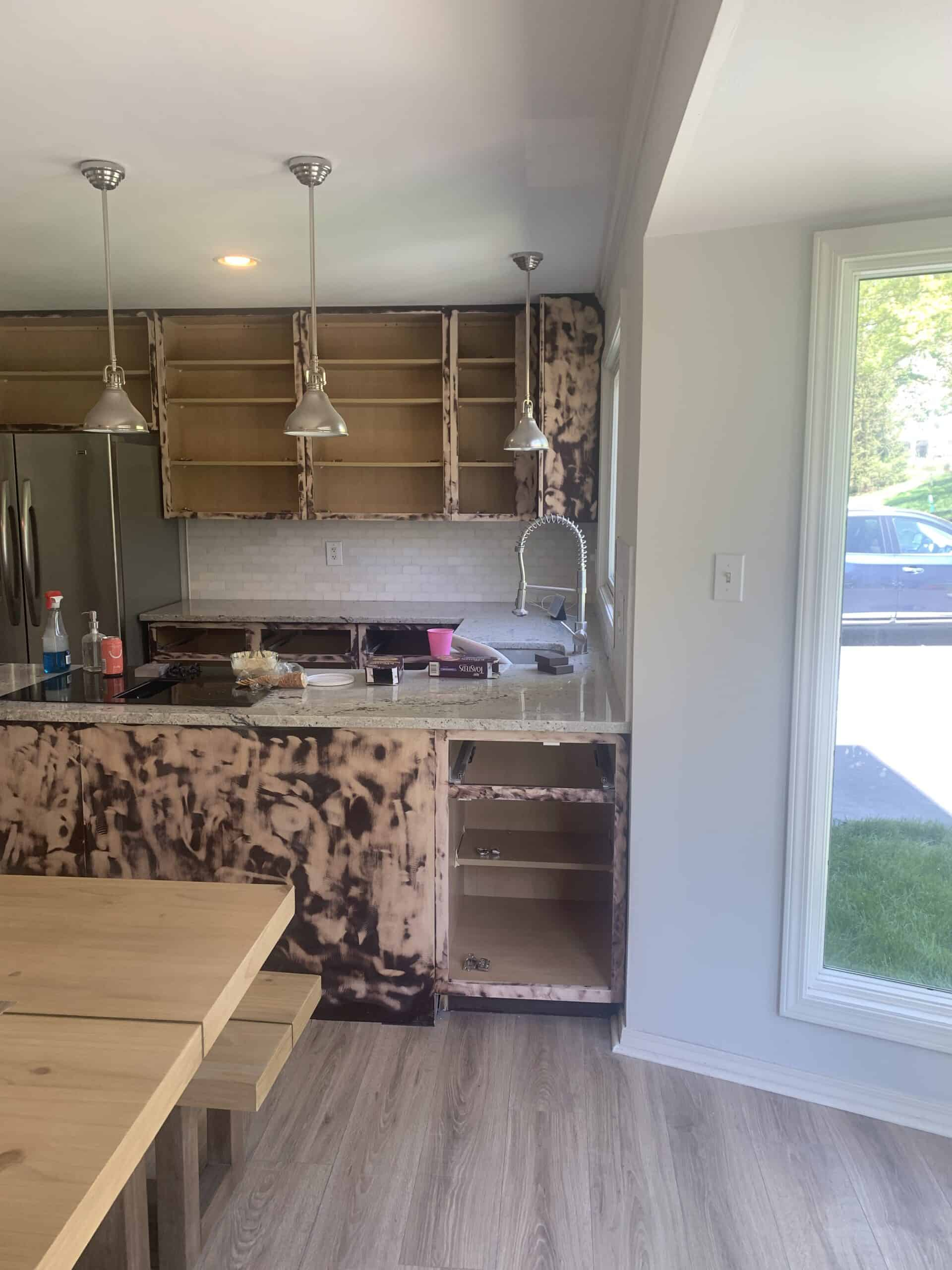 sanded down kitchen cabinets