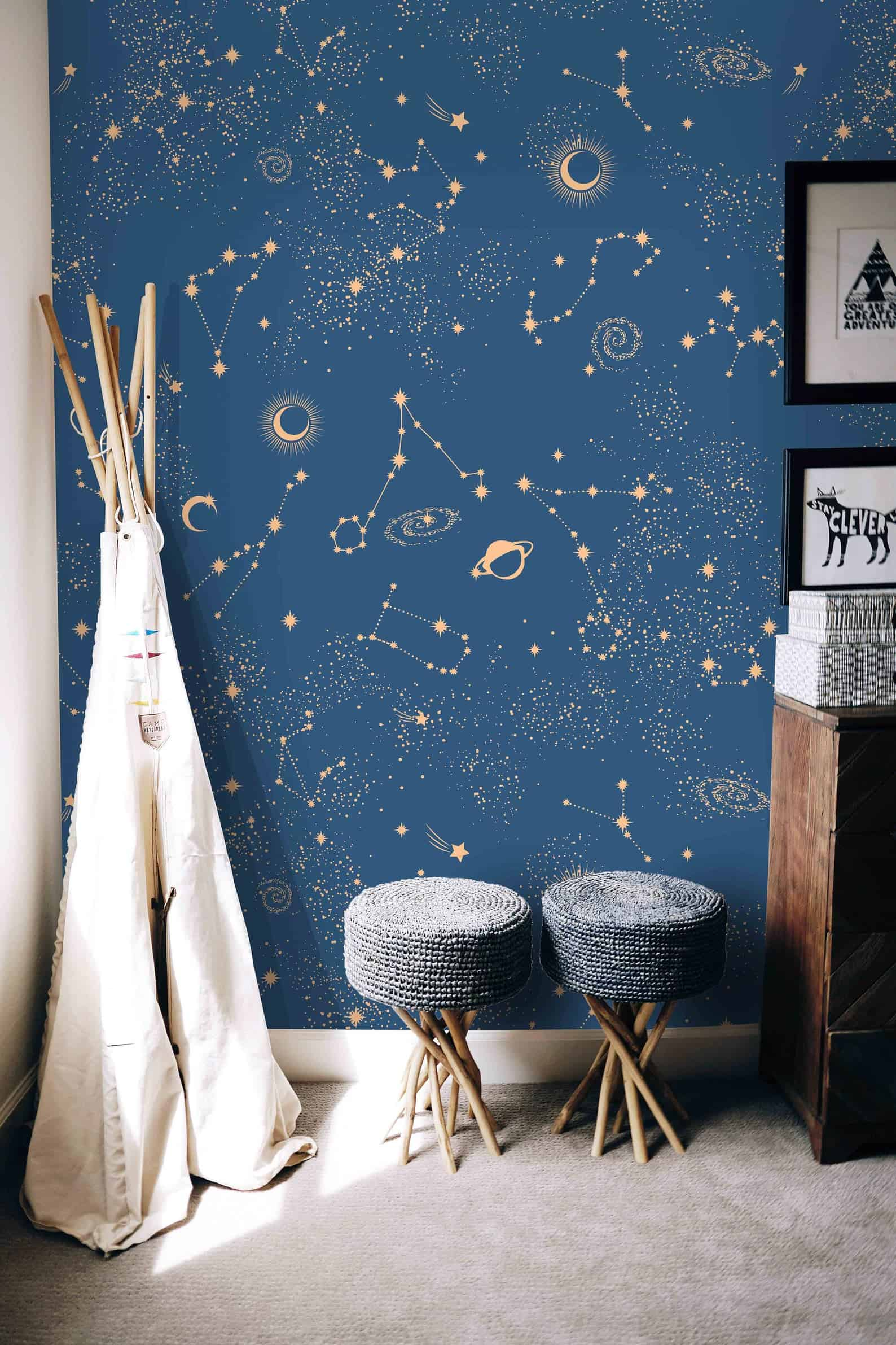 Blue constellation themed kids room