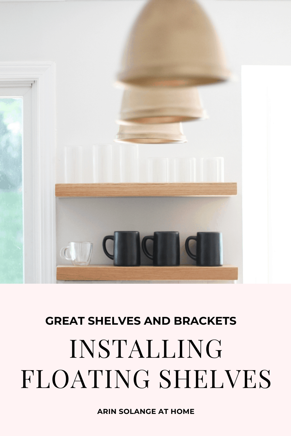 floating shelf brackets and open kitchen shelving
