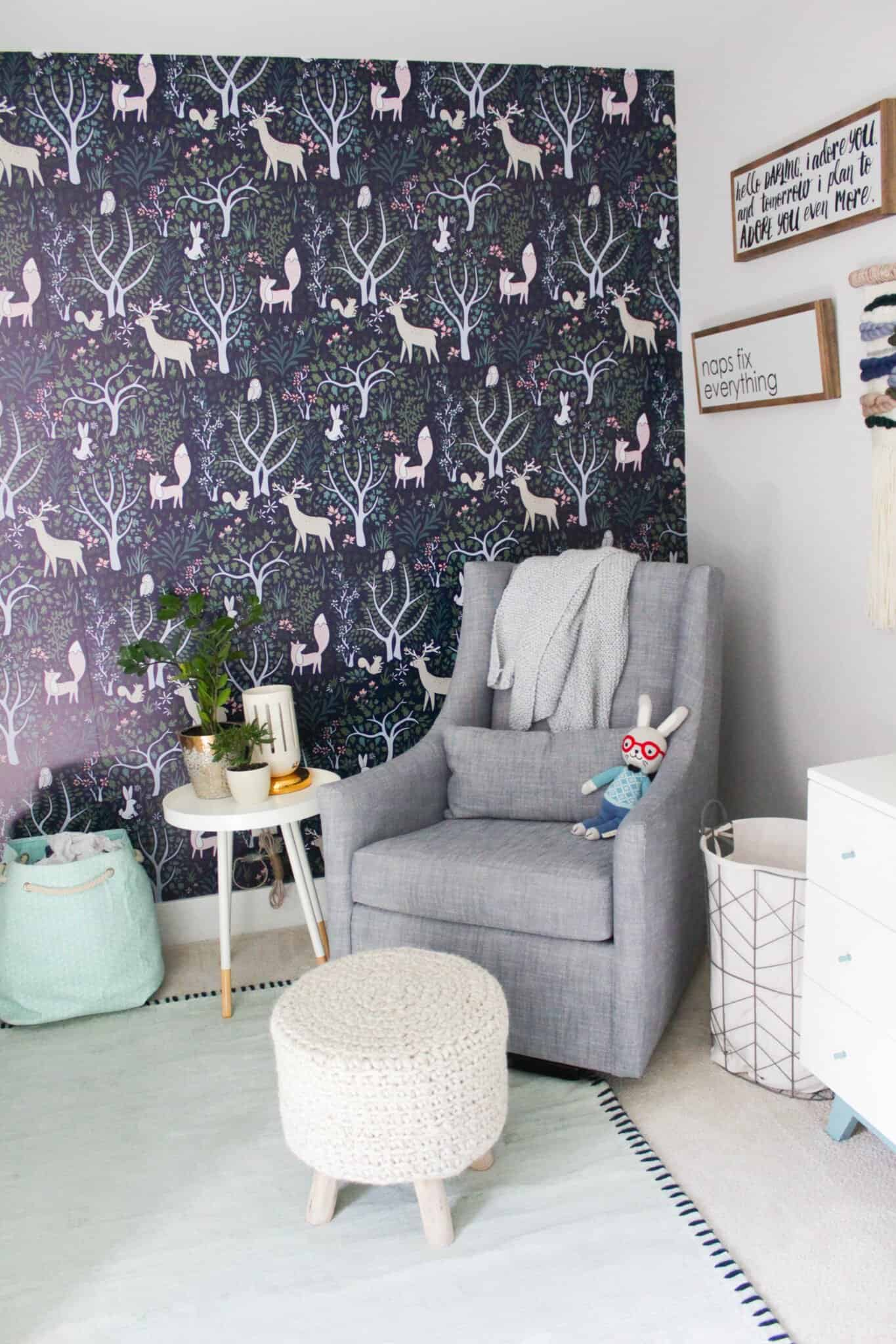 modern gender neutral wallpaper room