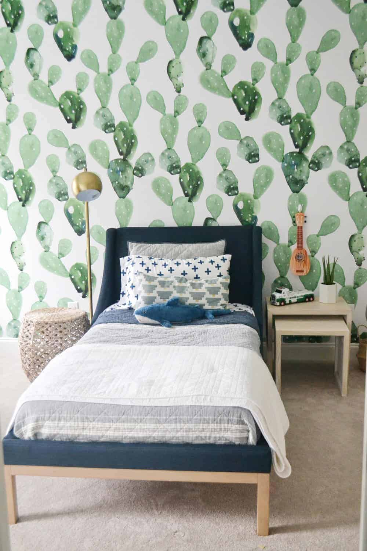 cactus wallpaper in boys room