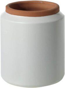 white and terra-cotta pot