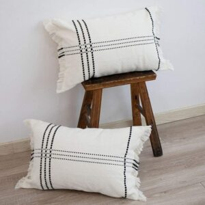 black and white check pillows