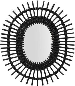 black rattan mirror