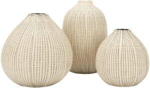 set of three decorative vases