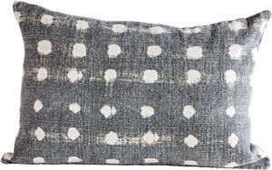 grey dot pillow