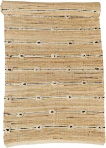 jute rug with black and white tassels