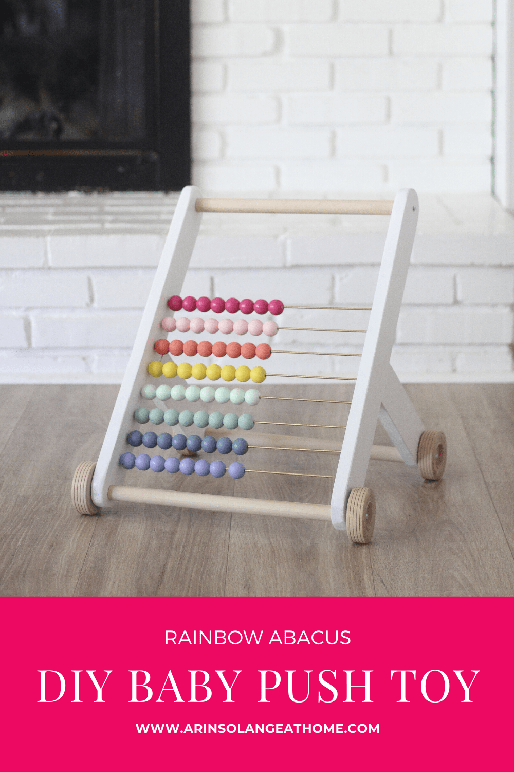 DIY rainbow abacus baby push toy