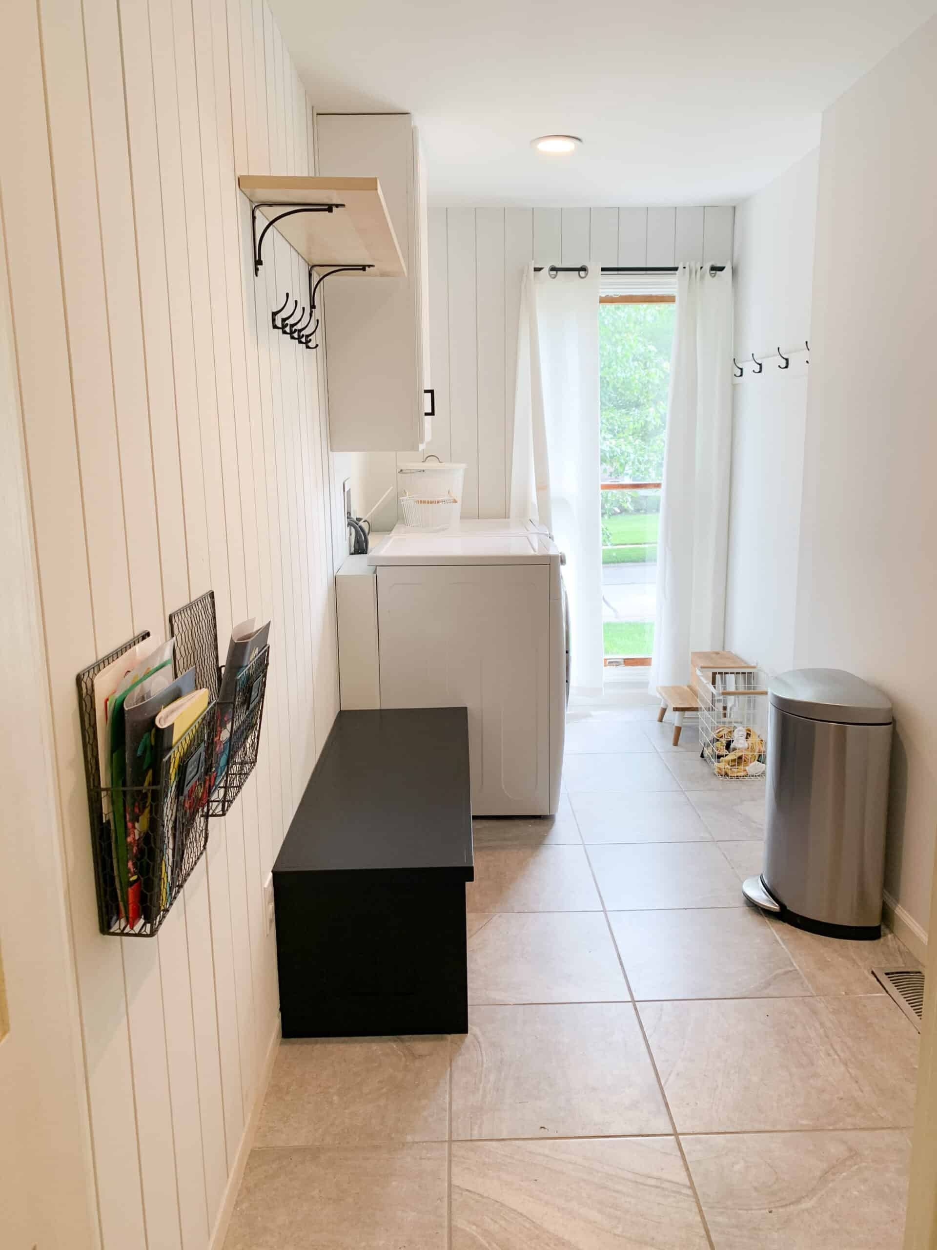 vertical shiplap laundry room