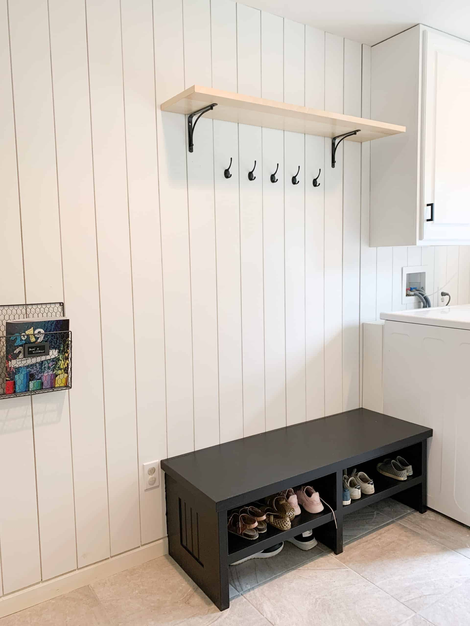 vertical shiplap in laundry room