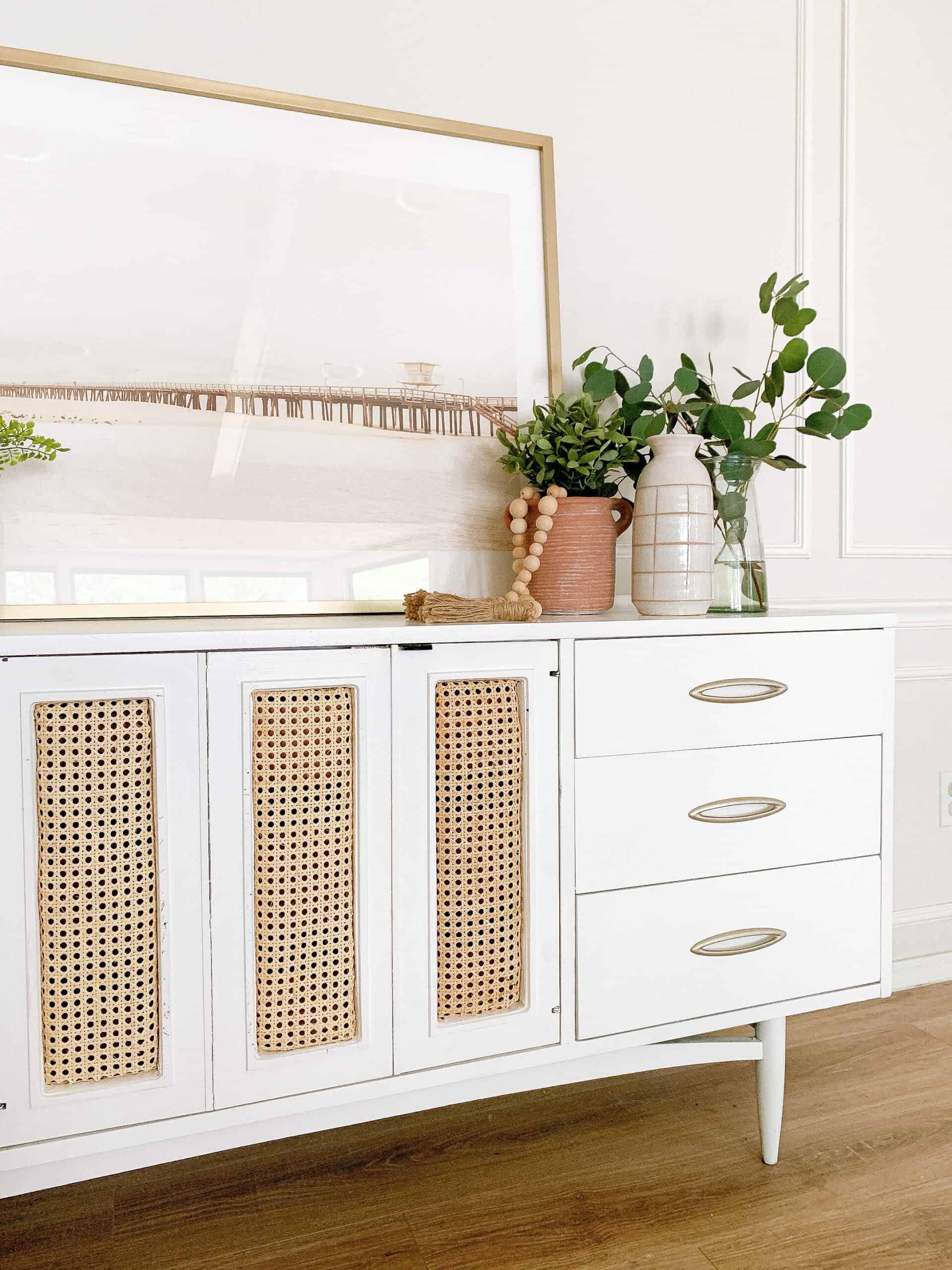 DIY cane mid century modern dresser