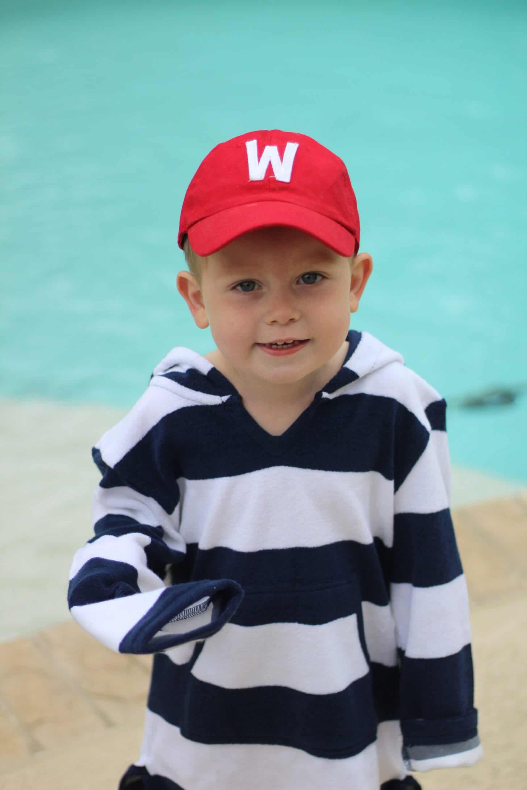 three year old boy in W hat