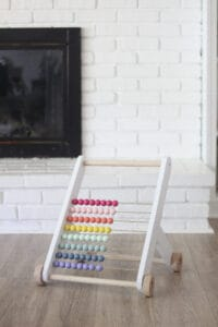wood bead abacus baby push toy