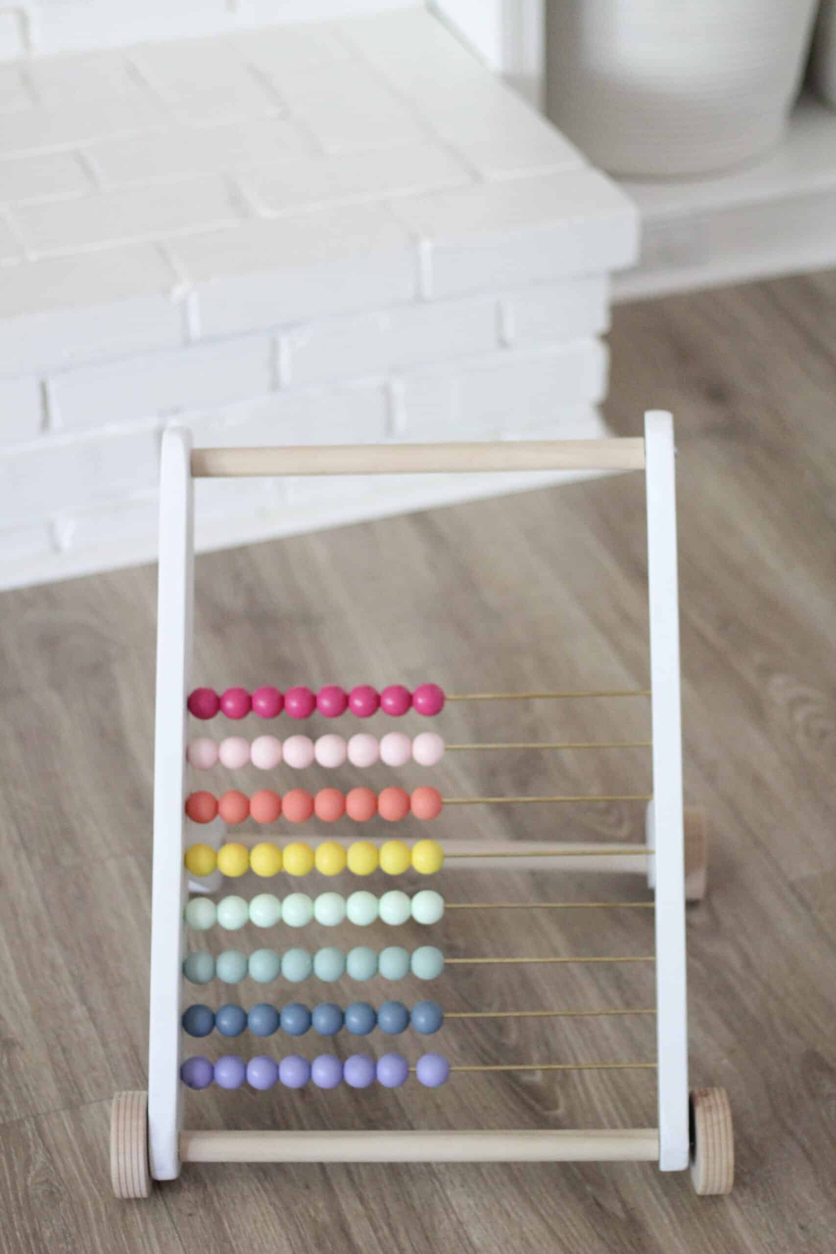 wood bead rainbow abacus push toy
