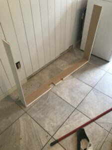 small wire hiding shelf for washer and drier